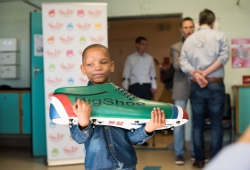 2018; Little Lesray - 6 year old boy in Tygerberghospital with BigShoe before his surgery on his Tessier cleft with Bigshoe
